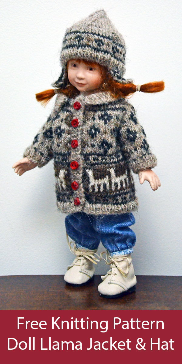 Free Doll Clothes Knitting Pattern Llama Jacket and Hat for Jenny & Lexie