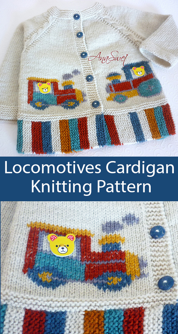 Knitting Pattern for Locomotives Cardigan for Toddlers