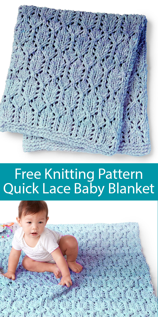 Free Knitting Pattern for Lofty Lacy Baby Blanket