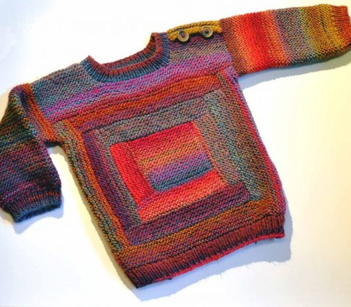 Knitting Pattern for Log Cabin Baby Sweater
