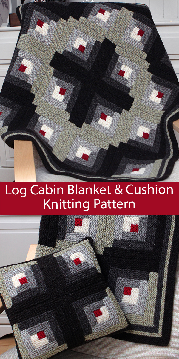 Blanket Knitting Pattern Log Cabin Blanket and Cushion