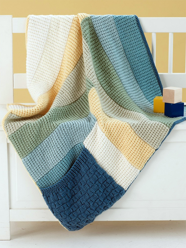Free Knitting Pattern for Log Cabin Pocket Blankie