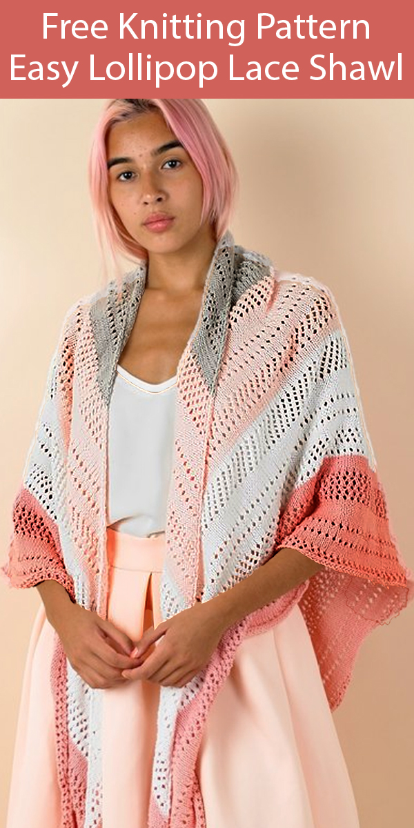 Free Knitting Pattern for Easy Lollipop Lace Shawl