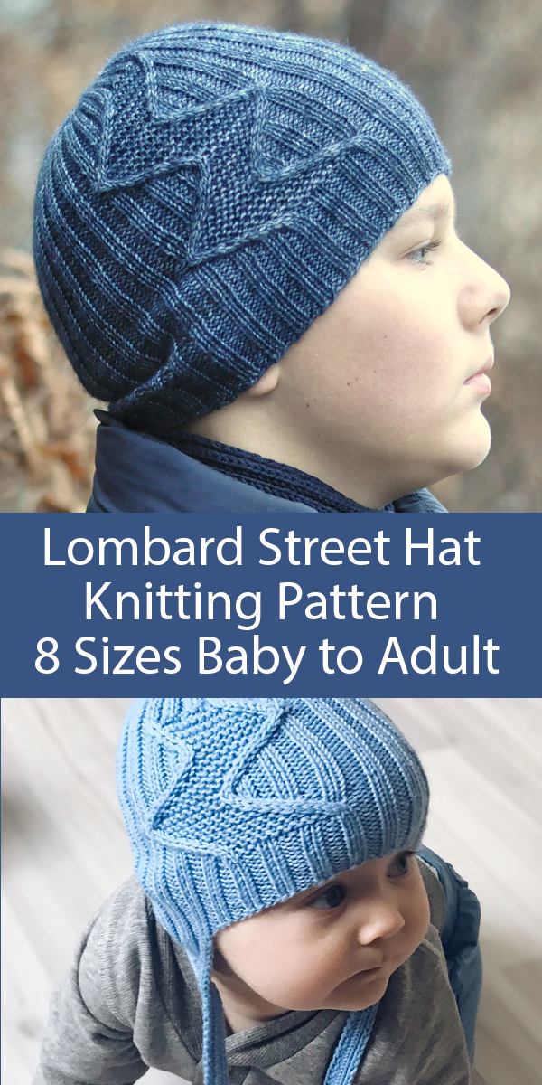 Knitting Pattern for Unisex Lombard Street Hat Sizes Baby to Adult with Optional Earflaps