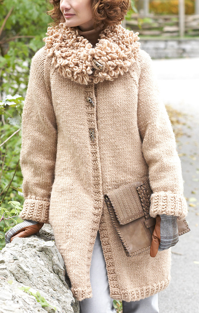 Free Knitting Pattern for Long Cardigan with Loop Stitch Collar