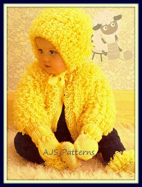 PDF Knitting Pattern for Loopy/Loop Stitch Jacket Bonnet Mitts & Bootees | Baby and Toddler Sweater Knitting Patterns, many free patterns including cardigans, pullovers, jackets and more http://intheloopknitting.com/free-baby-and-child-sweater-knitting-patterns/