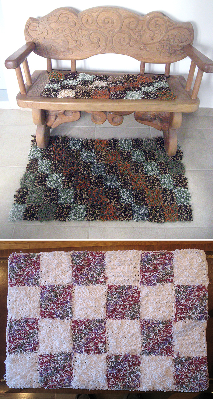 Free Knitting Pattern for Loopy Patchwork Rug