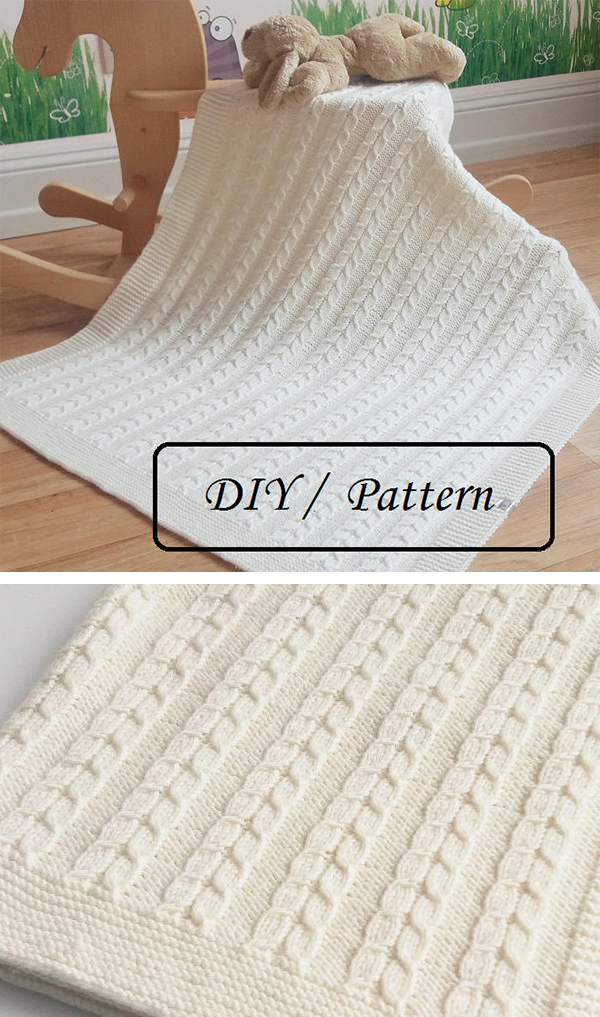 Free Knitting Pattern for Louise Baby Blanket