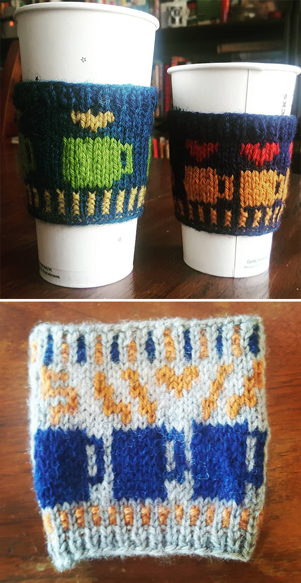 Free Knitting Pattern for Love and Coffee Cozy