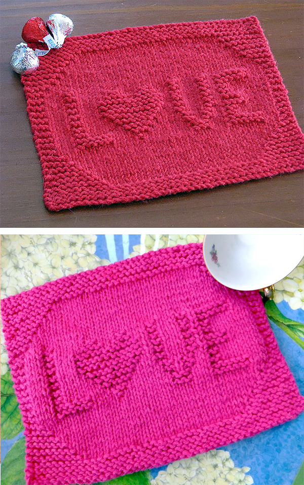 Free Knitting Patterns for LOVE Dishcloth