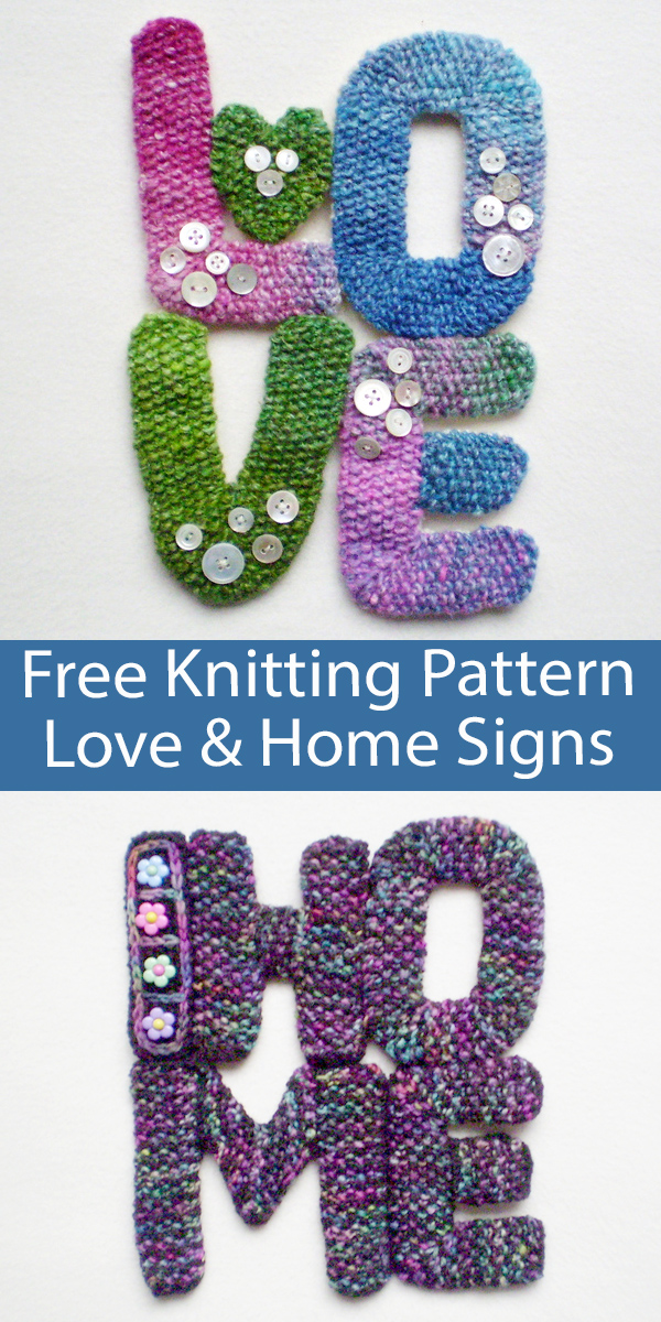 Free Stashbuster Knitting Pattern Love and Home Signs