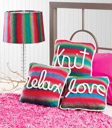 Knitting Pattern for Love, Knit, Relax Pillows and Lampshade