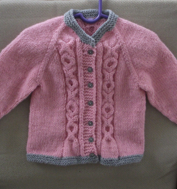 Free Knitting Pattern for Love Me Baby Cardigan