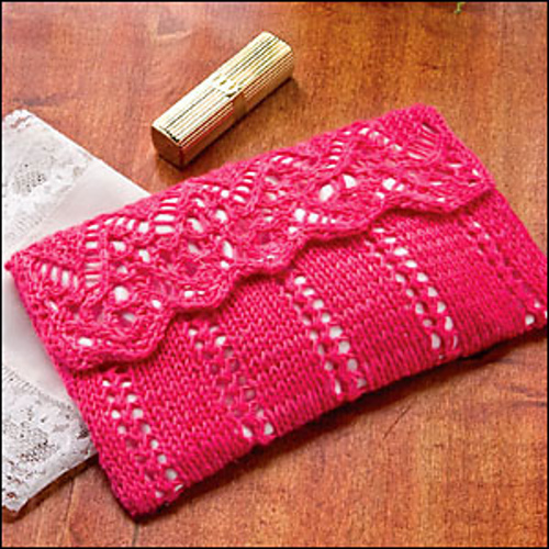 Free Knitting Pattern for Lovely Lace Clutch