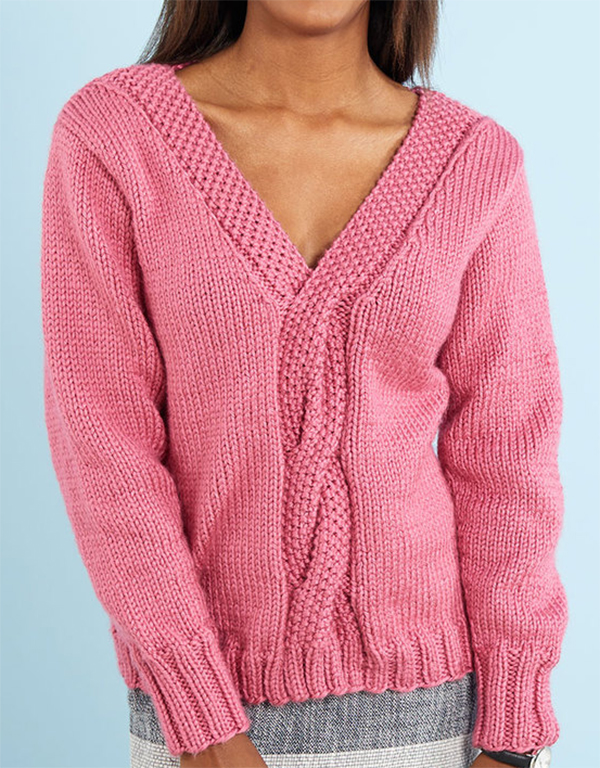 Free Knitting Pattern for Lovely Cable Sweater
