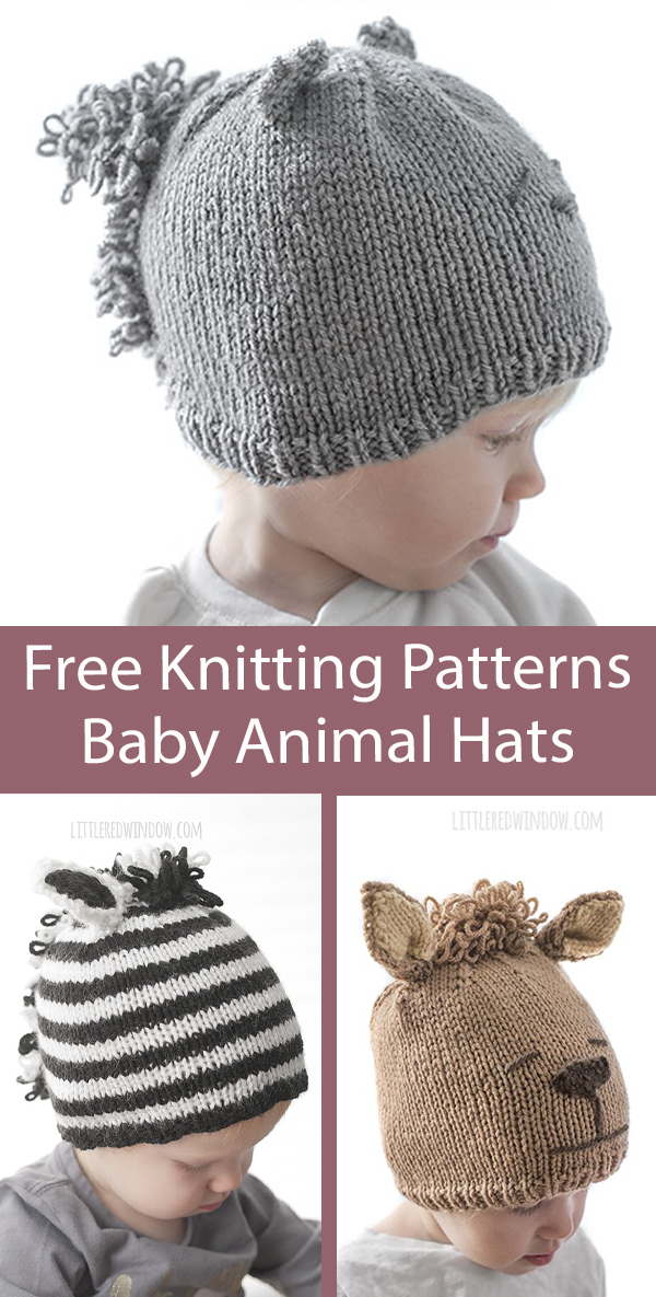 Free Baby Knitting Patterns Baby Animal Hats