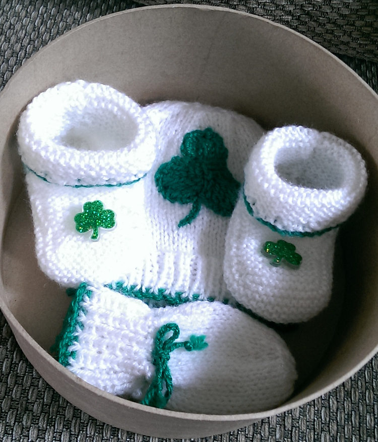 Free Knitting Pattern for Lucky Baby Shamrock Set