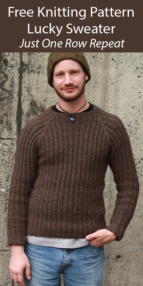 Free Knitting Pattern for Lucky Sweater 1 Row Repeat