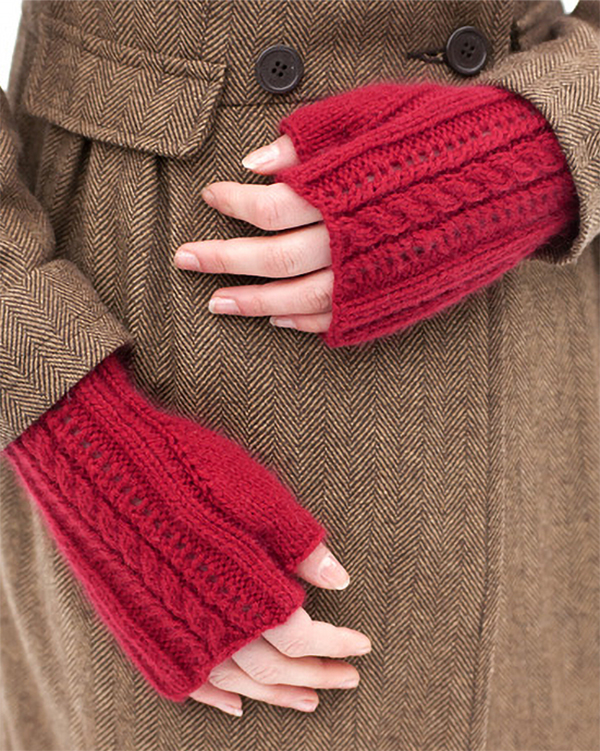 Free Knitting Pattern for 4 Row Repeat Lush Fingerless Mitts