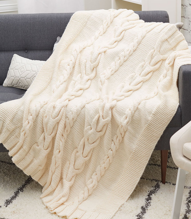 Free Knitting Pattern for Luxurious Cabled Throw