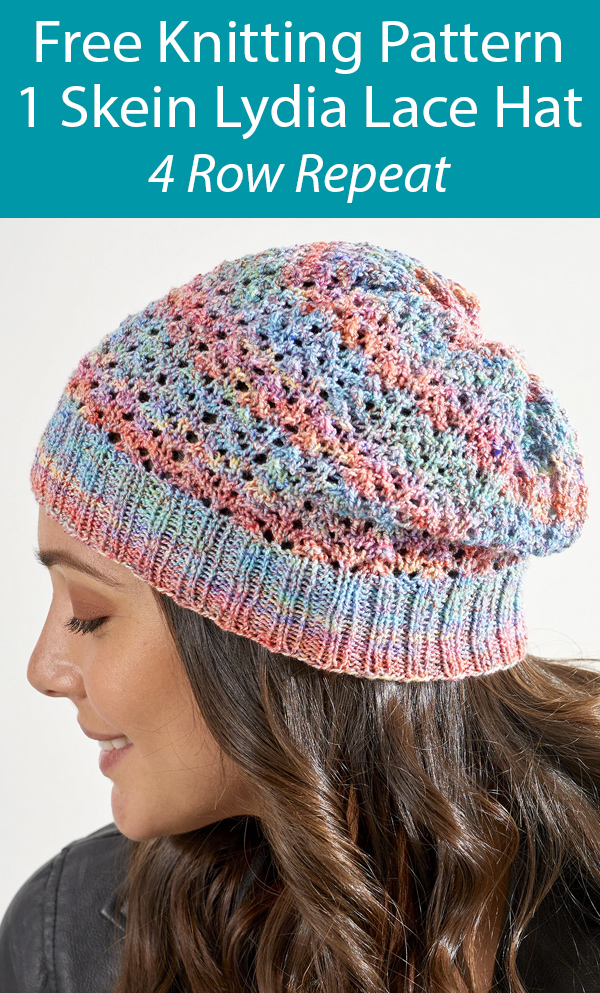 Free Knitting Pattern for Lydia Lace Hat One Skein Hat