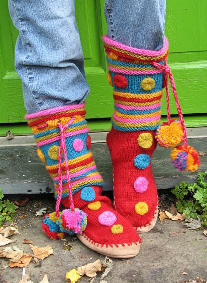 Free knitting pattern for Macarons Slipper Boots and more slipper knitting patterns