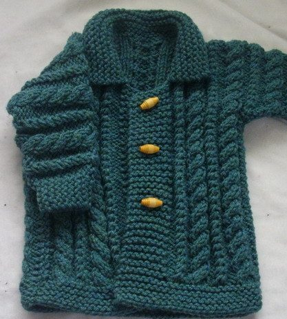 Knitting Pattern Macdara Aran Coat for Babies and Toddlers