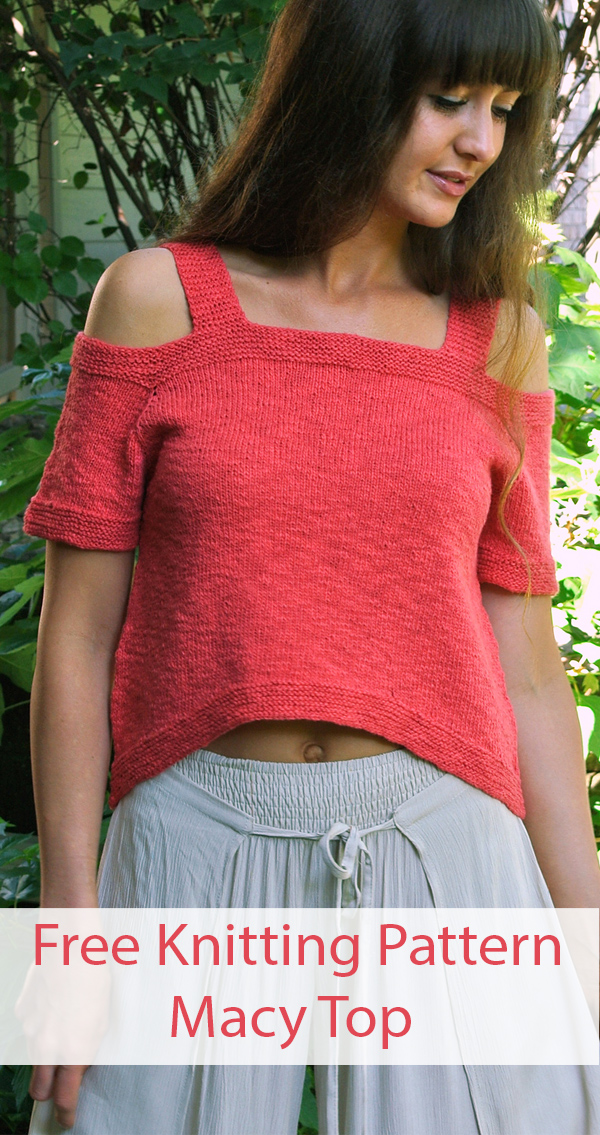 Free Knitting Pattern for Macy Cold Shoulder Top