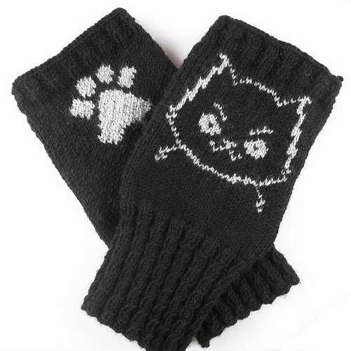 Free knitting pattern for Mad Cat Handwarmers fingerless mitts