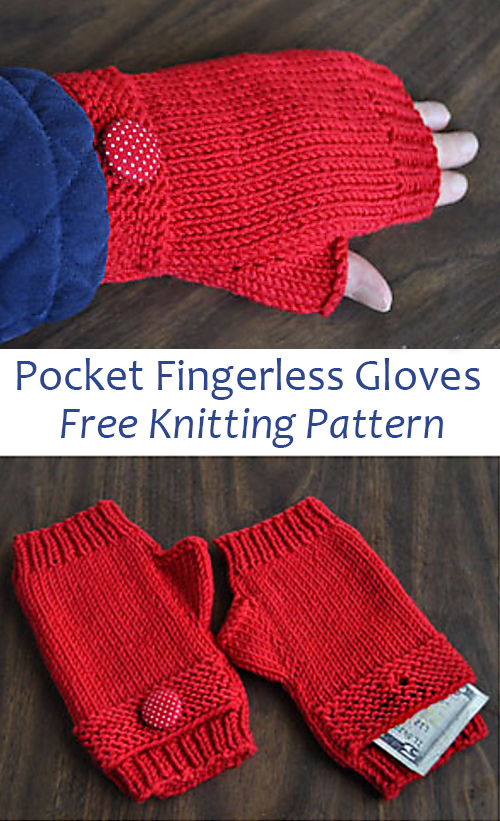 Free Knitting Pattern for Pocket Fingerless Gloves