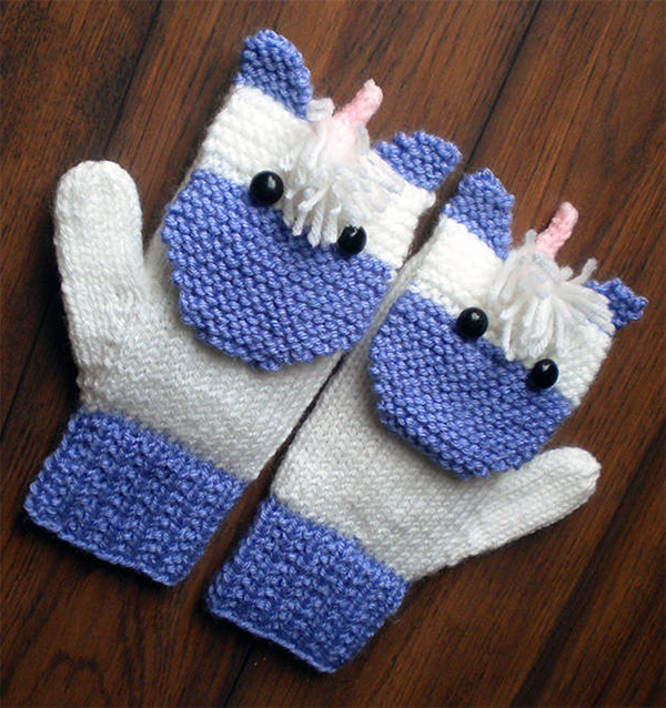 Knitting Pattern for Magical Unicorn Mittens for the Family