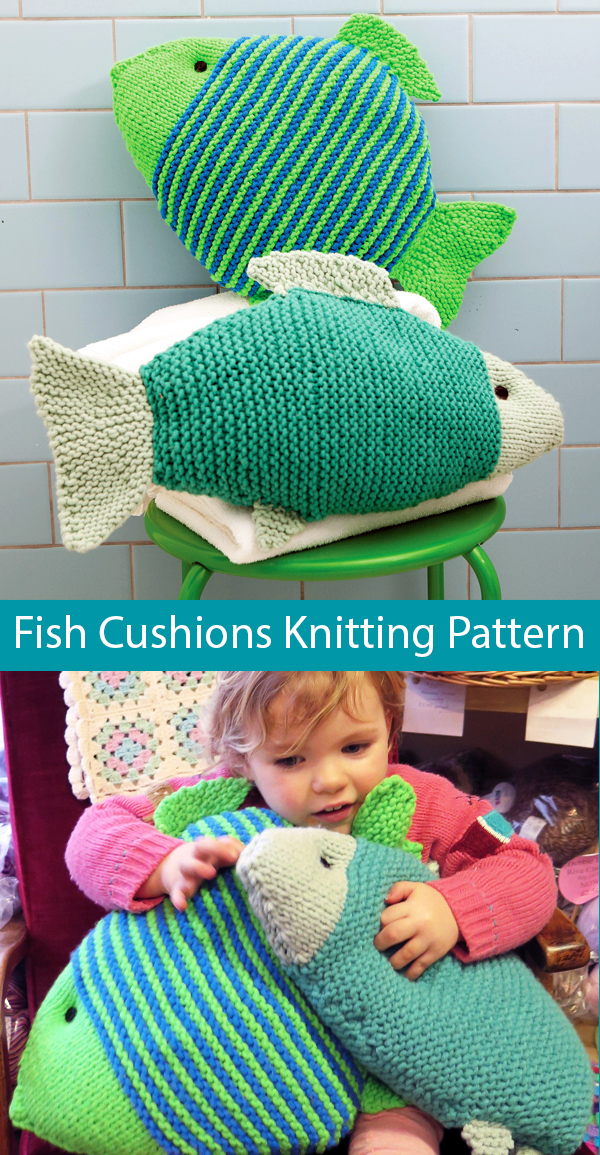 Knitting Pattern for Make a Splash Fish Cushions