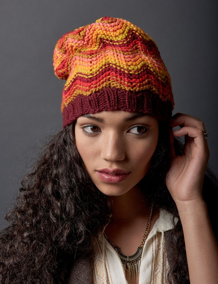 Free knitting pattern for Make Waves Slouchie Beanie Hat and more chevron knitting patterns