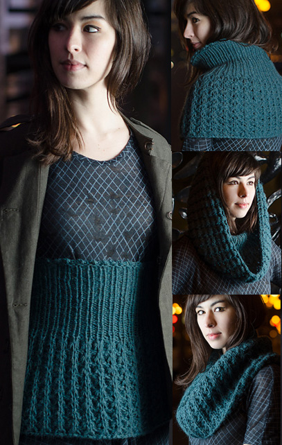Free knitting pattern for Makiko belly warmer, cowl, hood multi-purpose