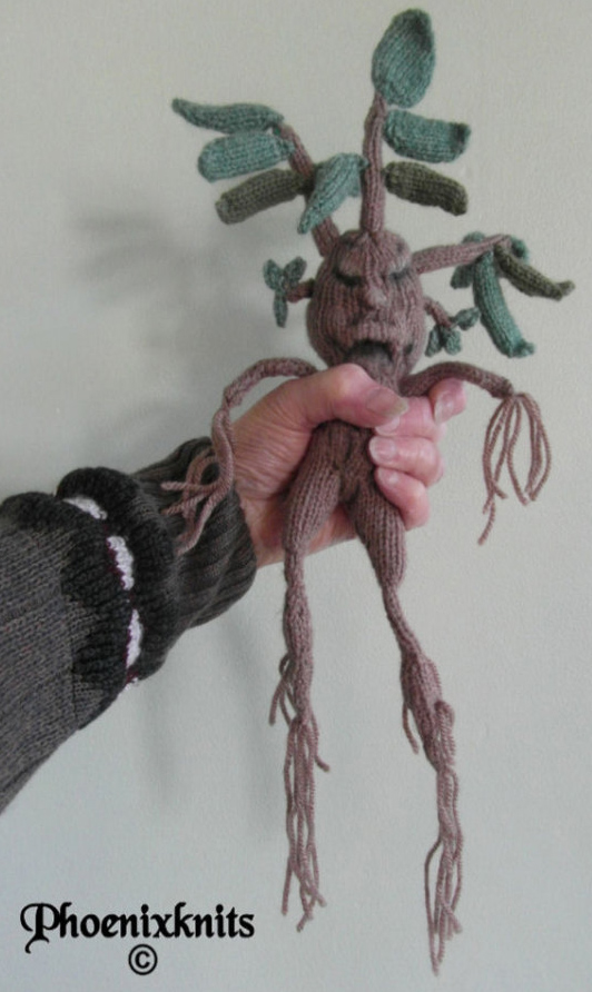 Mandrake from Harry Potter Knitting Pattern | Harry Potter inspired Knitting Patterns, many free knitting patterns
