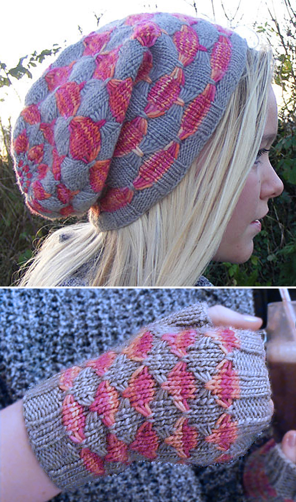 Free Knitting Pattern for Maquereau Hat and Mitts