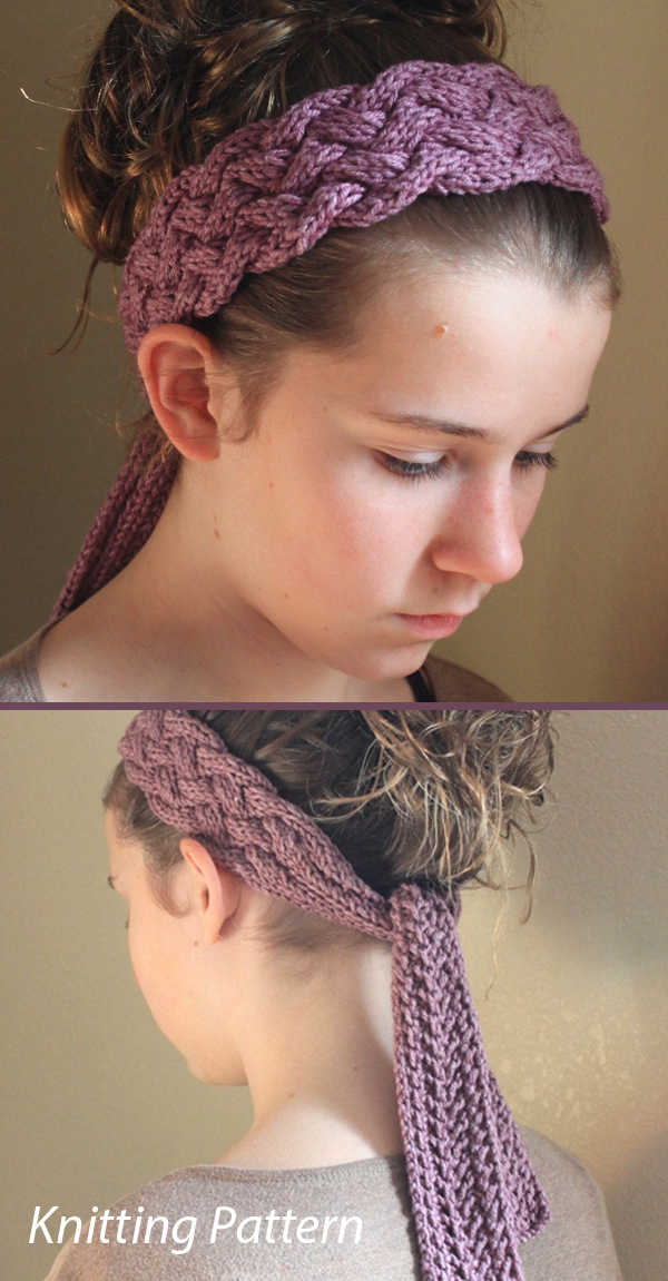 Kniting Pattern for Marbella Cabled Head Wrap Scarf