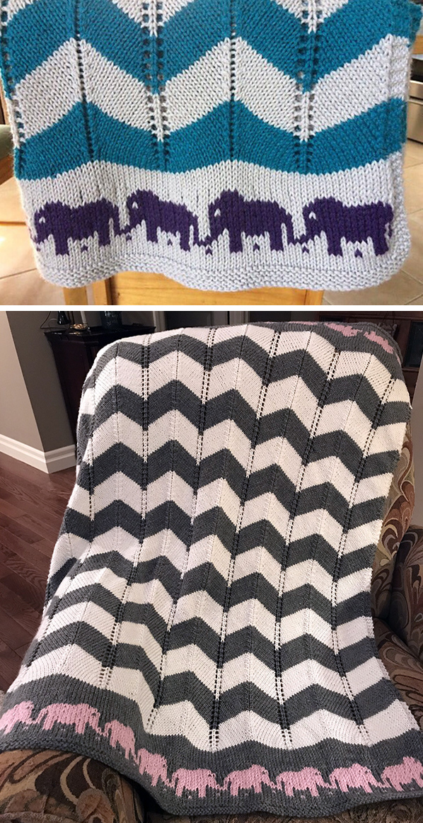 Free Knitting Pattern for Marching Elephants Baby Blanket
