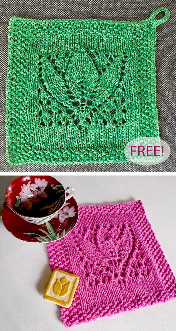 Free Knitting Pattern for Margaret Tulip Dishcloth Block