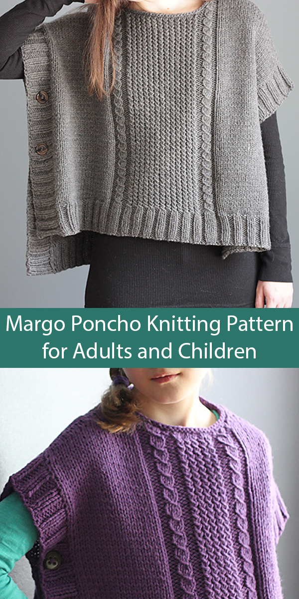 Knitting Pattern for Margo Poncho for Adults or Children