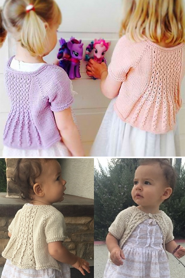 Knitting Pattern for Marian Shrug for Baby through Adult