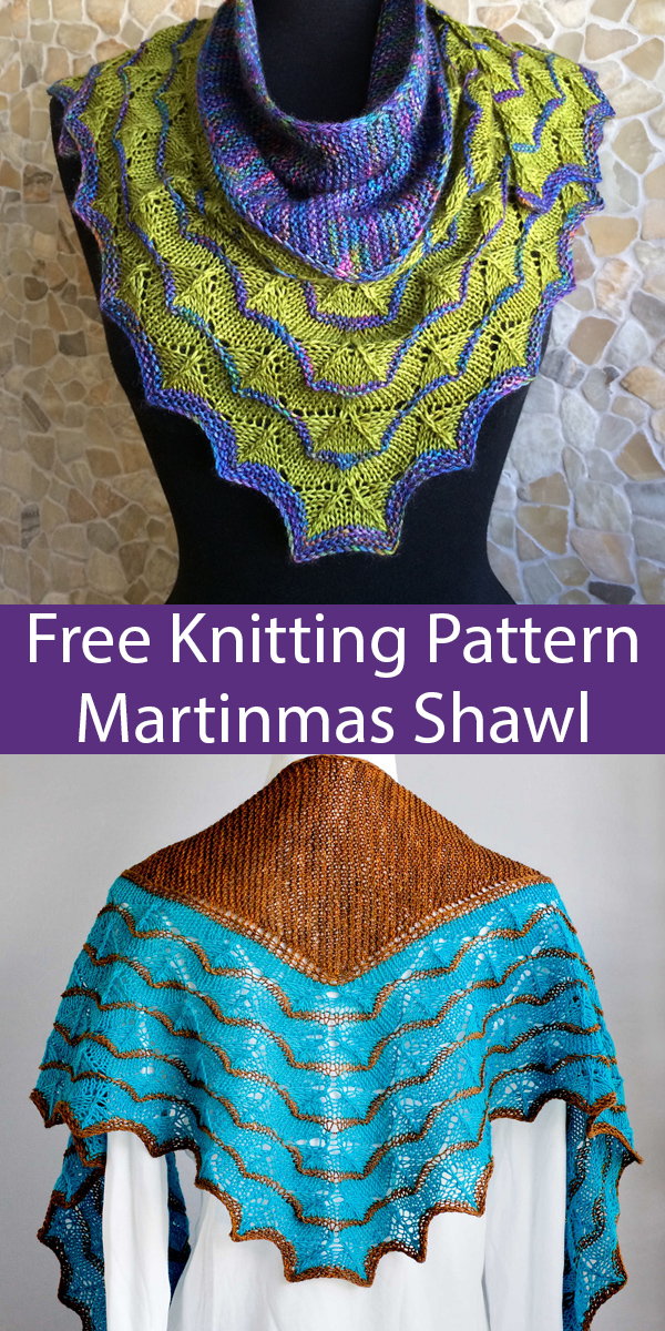 Free Knitting Pattern for 10 Row Repeat Martinmas Shawl