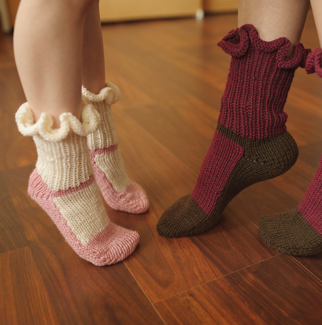 Knitting Pattern for Mary Jane Slipper Socks