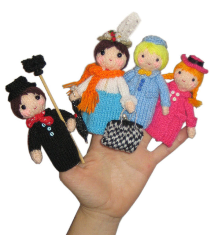 Knitting Pattern for Mary Poppins Finger Puppets