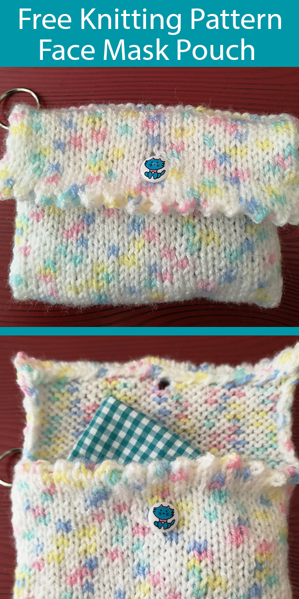 Free Knitting Pattern for Face Mask Pouch