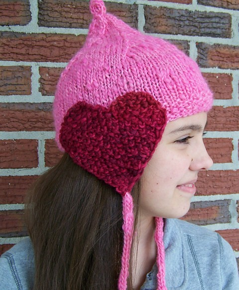 Free knitting pattern for Matching Hearts hat