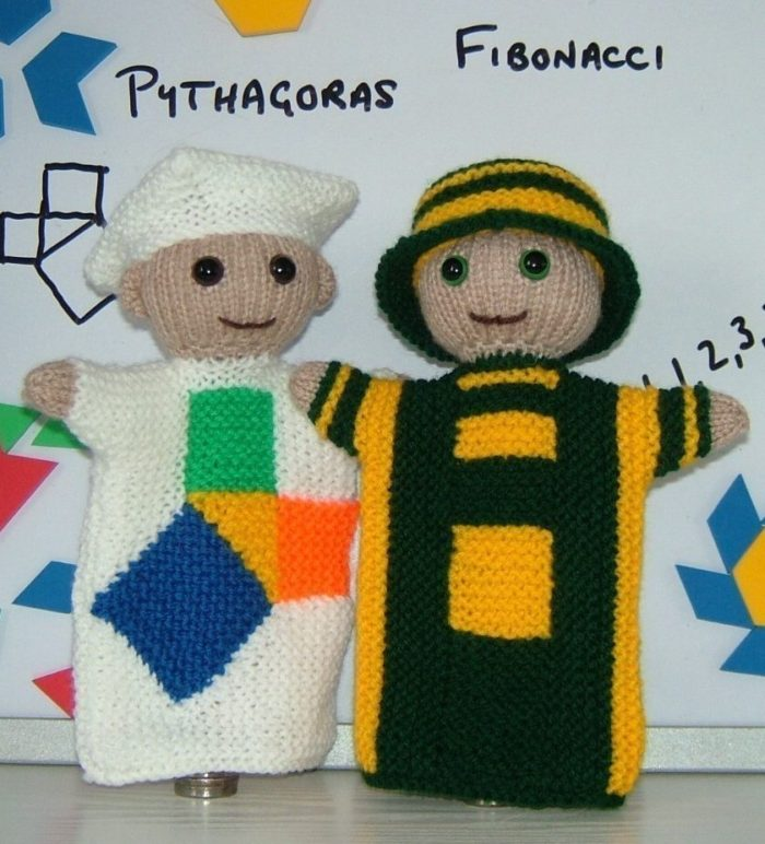 Knitting Pattern for Mr Pythagoras and Mr Fibonacci Puppets