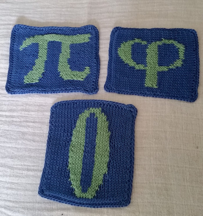 Free Knitting Pattern for Mathematical Underdogs Coffee Coasters