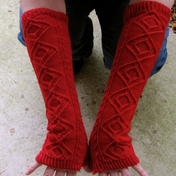 Knitting pattern for Matterhon Long Fingerless Mitts and more wristwarmer mitts