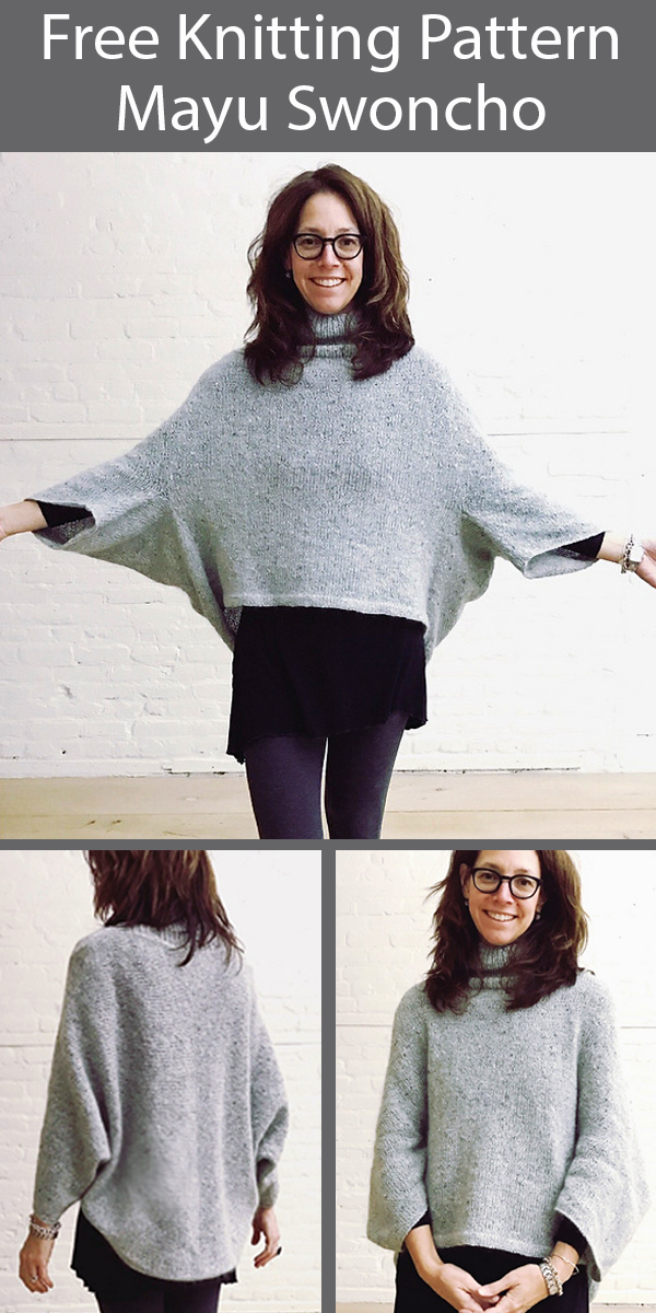 Free Knitting Pattern for Mayu Sweater Swoncho Sizes S to 3XL
